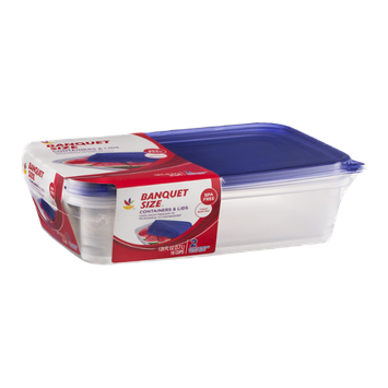 Ahold Banquet Size Containers & Lids - 2 CT