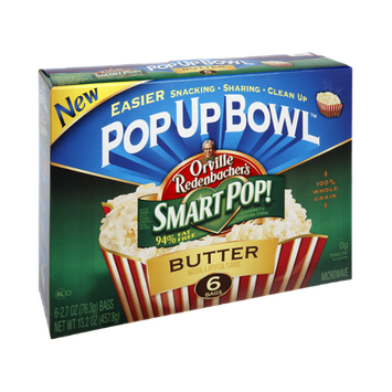 Orville Redenbacher's Pop Up Bowl 94% Fat Free Butter Popping Corn - 6 CT