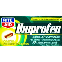 Rite Aid Pharmacy Ibuprofen, 200 mg, Coated Brown Tablets, Trial Size 12 tablets