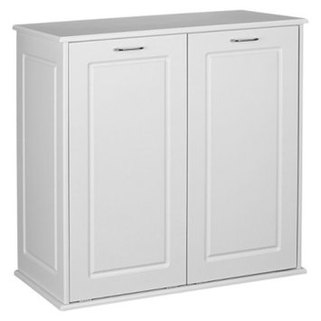 Household Essentials Design Trends Tilt-Out Cabinet Hamper with Removable Bags - White