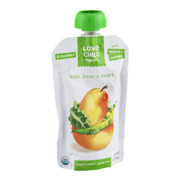 Love Child Organics Puree Kale, Peas + Pears