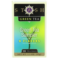 Stash Tea Company Stash Tea Green Tea Sampler, Nine Flavor Variety Pack, 18 Count Tea Bags in Foil (Pack of 6)