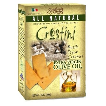 Sandamiri Crostini Rustic Style Crackers, Extra Virgin Olive Oil, 7.05-Ounce Boxes (Pack of 4)