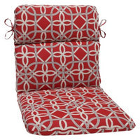 Pillow Perfect Outdoor Round Edge Chair Cushion - Red/Brown Keene