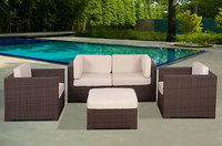 Sierra Accessories SIERRA ACCESSORIES Chateaux 5pc Casual Patio Seating Set Off White - SIERRA ACCESSORIES