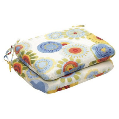 Pillow Perfect Outdoor 2-Piece Chair Cushion Set - Blue/White/Yellow Floral