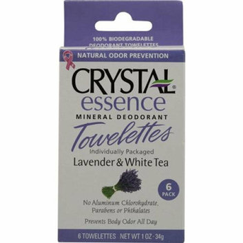 Crystal Essence Mineral Deodorant Towelettes Lavender and White Tea 6 Towelettes