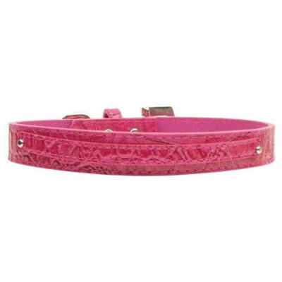 Mirage Pet Products 1001 LgPkC .38 in. 10mm Faux Croc Two Tier Collars Pink Large
