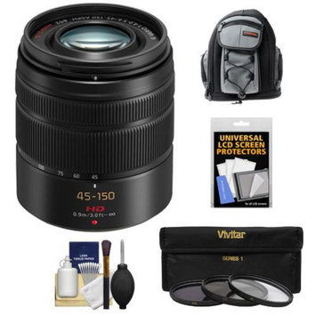 Panasonic Lumix G Vario 45-150mm f/4.0-5.6 OIS Lens with 3 (UV/CPL/ND8) Filters + Backpack Case + Kit for G5, G6, GF5, GF6, GH3, GH4, GM1, GX7 Cameras