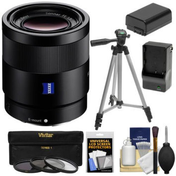 Sony Alpha E-Mount Sonnar T* FE 55mm f/1.8 ZA Lens with 3 Filters + Tripod + NP-FW50 Battery & Charger + Kit for A7, A7R, A7S Digital Cameras