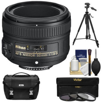 Nikon 50mm f/1.8 G AF-S Nikkor Lens with Nikon Case + 3 Filters + Tripod Kit for D3200, D3300, D5200, D5300, D7000, D7100, D610, D750, D810 Camera