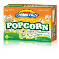 Golden Fluff 12023 Microwave Popcorn - 100 Calorie Mini Bags Case of 12 x 4 x 1 oz