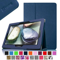 Fintie Folio Leather Case Cover with Auto Sleep / Wake Feature for Lenovo IdeaTab S6000 10.1-Inch Android Tablet, Navy