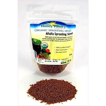 Organic Alfalfa Sprouting Seed - 4 Oz -Handy Pantry Brand - High Sprout Germination- Edible Seeds, Gardening, Hydroponics, Growing Salad Sprouts, Planting, Food Storage & More