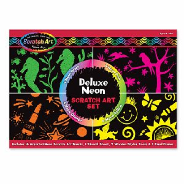 Melissa and Doug Deluxe Neon Scratch Art Set Ages 4+