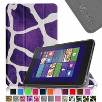 Fintie Slim Shell Leather Case for New Dell Venue 8 (2014 Version) 8-Inch Android Tablet, Giraffe Purple
