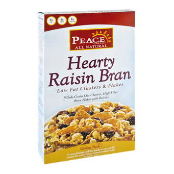 Peace Cereal All Natural Hearty Raisin Bran Low Fat Clusters & Flakes