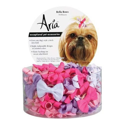 Aria Cotton Grosgrain Ribbon Bella Dog Bows Canister, 70-Pack