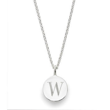 Sarah Chloe Sterling Silver Engraved W on 16 inch Cable Chain