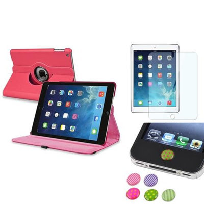 Insten INSTEN Hot Pink 360 Leather Stand Case Cover+Protector/Sticker For Apple iPad Air 5 5th Gen