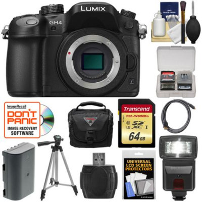 Panasonic Lumix DMC-GH4 4K Micro Four Thirds Digital Camera Body with 64GB Card + Battery + Case + Tripod + Flash + Accessory Kit