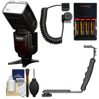 Vivitar Series 1 DF-583 Power Zoom DSLR Wireless TTL Flash (for Canon EOS E-TTL) with AA Batteries & Charger + Bracket + Cord + Cleaning Kit