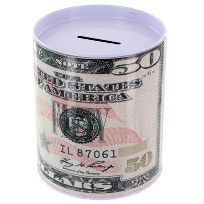 Good Old Values Metal Money Coin Bank - $50 Bill