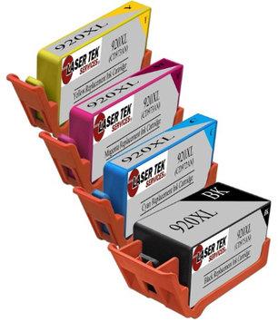 Laser Tek Services 4 Pack HP 920XL Replacement Ink Cartridges (1 BK CD975AN, 1 CY CD972AN, 1 MG CD973AN, 1 YL CD974AN)