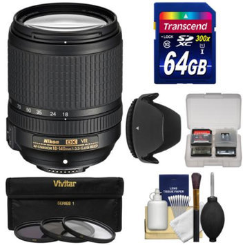 Nikon 18-140mm f/3.5-5.6G VR DX ED AF-S Nikkor-Zoom Lens with 64GB SD Card + 3 Filters + Hood Kit for D3200, D3300, D5200, D5300, D7000, D7100 Cameras