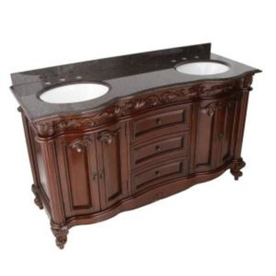 Pegasus Estates 60 in. Vanity in Rich Mahogany with Granite Vanity Top in Imperial Brown - White Undermount sinks-DISCONTINUED