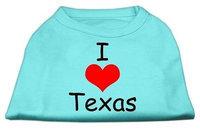 Mirage Pet Products 5138 XXXLAQ I Love Texas Screen Print Shirts Aqua XXXL 20