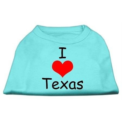 Mirage Pet Products 5138 MDAQ I Love Texas Screen Print Shirts Aqua Med 12