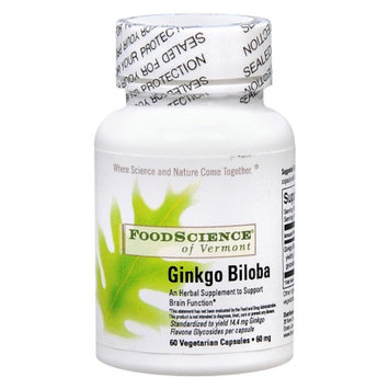 FoodScience of Vermont Ginkgo Biloba Herbal Supplement Capsules