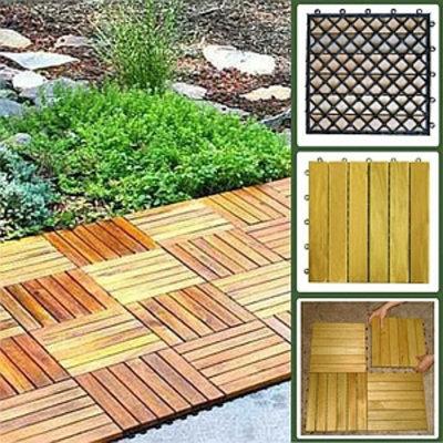 VIFAH Deck Tiles 6 Slat Straight 10 Tiles Box Premium Plantation Teak