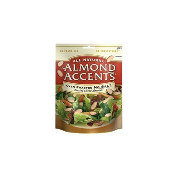 All Natural Almond Accents - Oven Roasted No Salt - 3.5 Oz Bag (Pack of 6)