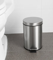 Estilo Round Brushed Stainless Steel Step Trash Can 5L - Fingerprint Resistant
