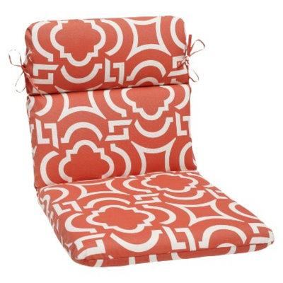 Pillow Perfect Outdoor Rounded Edge Chair Cushion - Orange/White Carmody