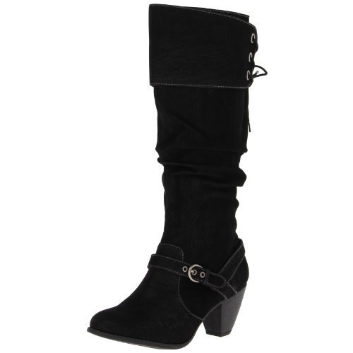 Jellypop Women's Bibiana Knee-High Boot [Black nubuck, 6 B(M) US]