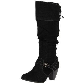 Jellypop Women's Bibiana Knee-High Boot [Black nubuck, 6 B(M) US]