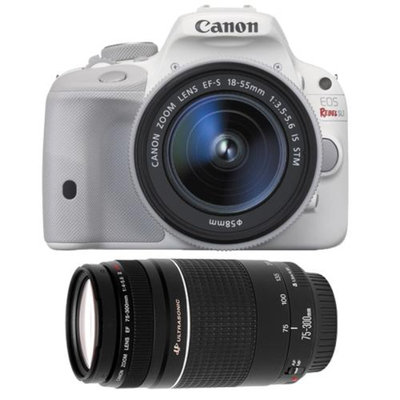 Canon EOS Rebel SL1 Digital SLR Camera & EF-S 18-55mm IS STM Lens (White) with Canon EF 75-300mm f/4-5.6 III Zoom Lens