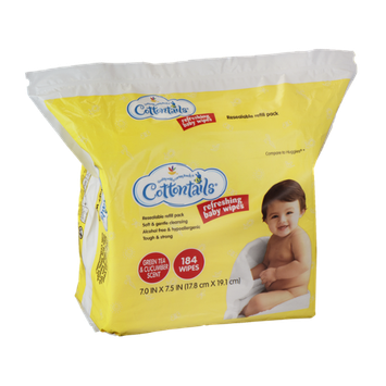 Cottontails Refreshing Baby Wipes Green Tea & Cucumber Scent - 184 CT