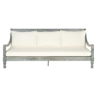 Safavieh Ferrat Wood Patio Day Bed - Gray/Beige