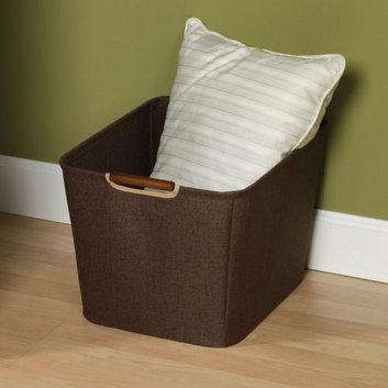 Household Essentials 15.75 in. Coffee Linen Bin with Wood Handles