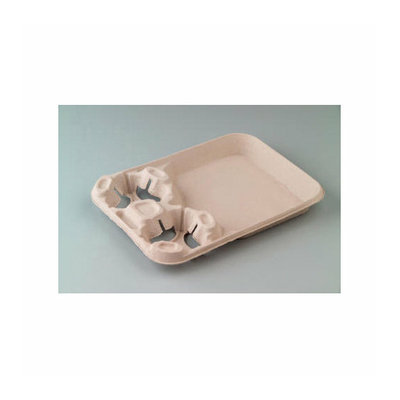 CHINET StrongHolder Molded Fiber 2-Cup Narrow Carrier with Food Tray
