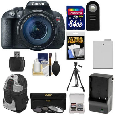 Canon EOS Rebel T5i Digital SLR Camera & EF-S 18-135mm IS STM Lens with 64GB Card + Battery & Charger + Backpack + 3 Filters + Remote + Tripod Kit