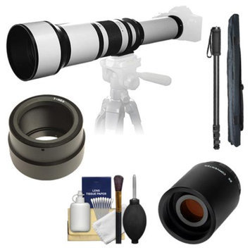 Samyang 650-1300mm f/8-16 Telephoto Lens (White) with 2x Teleconverter (=650-2600mm) + Monopod Kit for Sony Alpha NEX-C3, NEX-F3, NEX-5, NEX-5N, NEX-7 Digital Cameras
