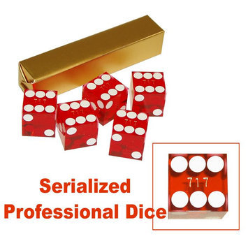 Trademark Poker 19mm A Grade Serialized Set of Casino Dice-Red