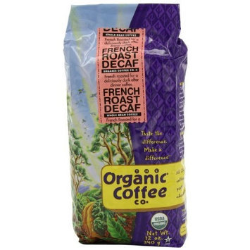 The Organic Coffee Company The Organic Coffee Co. Whole Bean, Decaf French Roast, 12 Ounce (Pack of 3)