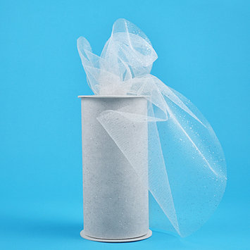 Expo TL2404-WHSL Glitter Tulle 6 in. x 25yd Spool-White with Silver Glitter