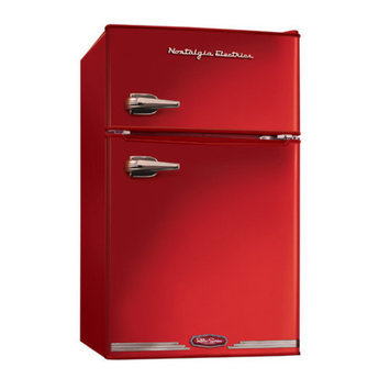 Nostalgia Electrics RRF325HNRED Retro Series 3.1-Cubic Foot Compact Refrigerator Freezer